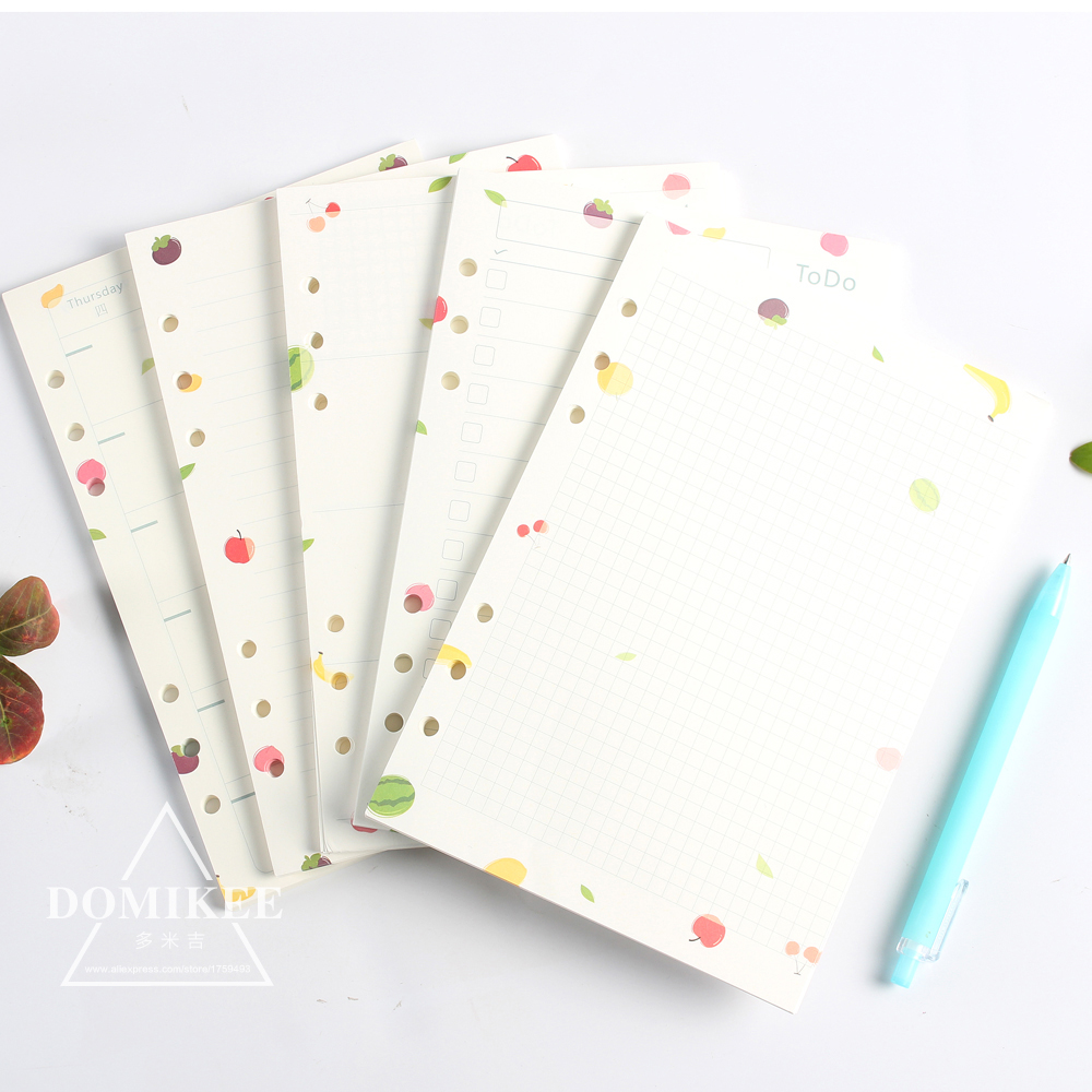 2017 New Cartoon Cute 6 Holes Filler Papers Core/replacement Inner Papers For Spiral Notebook: Monthly Weekly Planner,list,grid