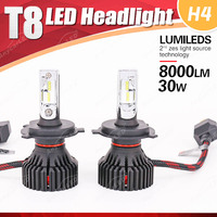 1 Set H4 HB2 9003 60W 8000LM T8 LED Headlight LUMILED 2nd ZES Chips 32SMD Pure White 6500K All in one Hi/Low Beam Driving Bulbs