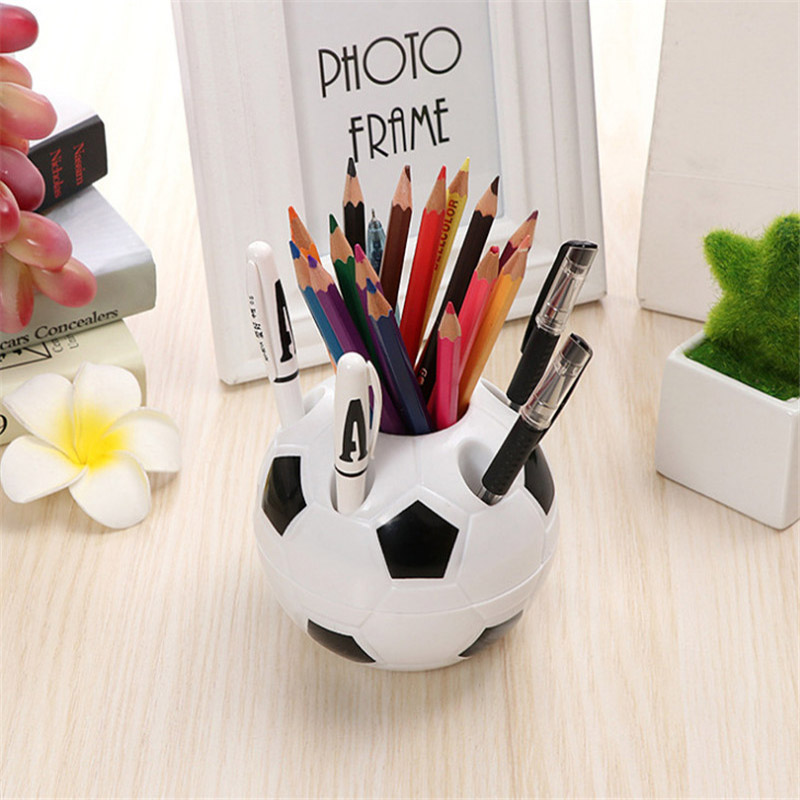Cute Kawaii Football Pen Holder Kids Stationery Pencil Organizer Desk Set Accessories Offices School Round Container Desktop Box