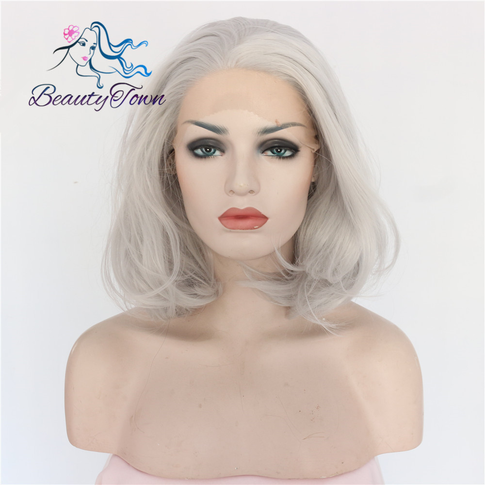 BeautyTown Bobo Type Heat Resistant Hair Grey Color Hand Tied Lace Cosplay Perruque Synthetic Lace Front