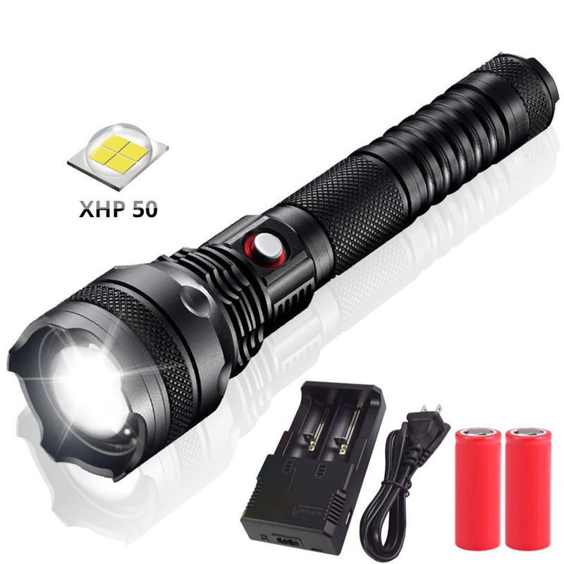 Waterproof XHP50 LED Tactical Flashlight Torch 20000 Lumens as Car Headlight 800 Meters Lantern With 26650 Battery for Outdoors