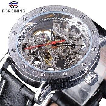 FORSINING модные автоматические механические часы для мужчин с вырезами кожаный ремешок наручные часы прозрачные часы Relogio Masculino