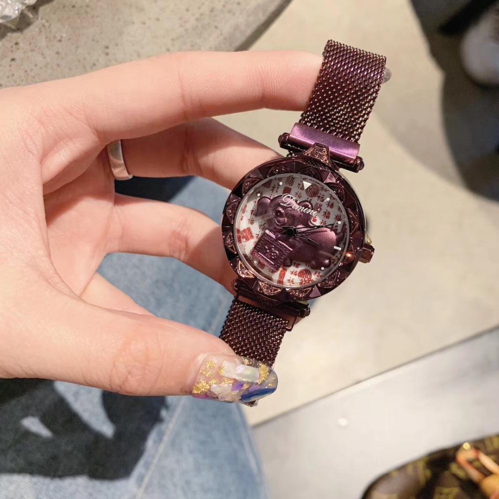 GOOD LUCK Spinning Pig Watches for Women China Cuture FU Words Milanese Watch Ultra Thin Bracelet Wristwatch Magnet Steel MontreGOOD LUCK Spinning Pig Watches for Women China Cuture FU Words Milanese Watch Ultra Thin Bracelet Wristwatch Magnet Steel Montre