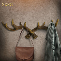 XXXG//Restore ancient ways American antlers key link Household clothes tree with a creative personality hanging on the wall at