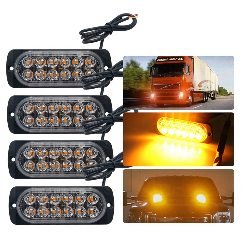 4 LED Grille Light Car Truck Side Marker Emergency Recovery Strobe Warn Beacon