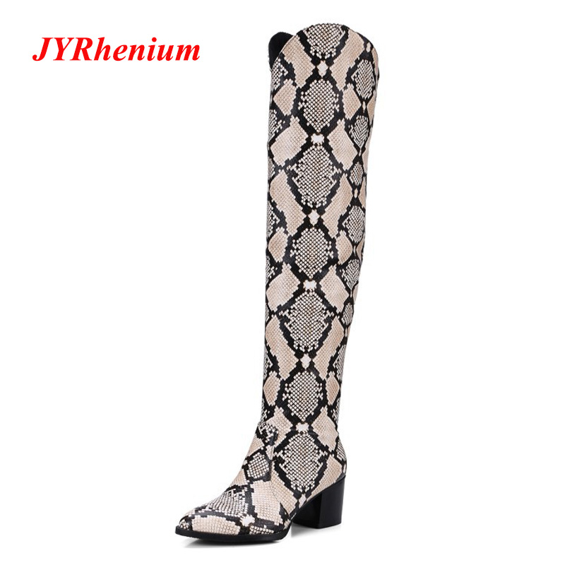 JYRhenium New Brand Thin High Boots Knee Boots Luxury Boots Pointed Toe Snake Skin Thigh High Botas femininas big size 34-43 женские блузки и рубашки brand new ropa camisas femininas kimono cardigan
