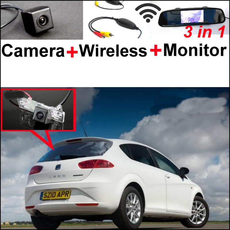 3in1 Wireless Receiver + Special WiFi Camera + Mirror Screen Monitor Rear View BackUp Parking System For SEAT Leon MK2 wireless pager system 433 92mhz wireless restaurant table buzzer with monitor and watch receiver 3 display 42 call button