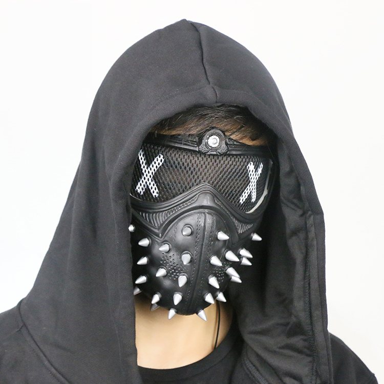 PVC <font><b>Mask</b></font>! Game <font><b>Watch</b></font> <font><b>Dogs</b></font> <font><b>2</b></font> Marcus <font><b>Wrench</b></font> Junior cosplay halloween party Tangerine <font><b>mask</b></font> prop in stock image