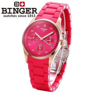 Casual Wine Red Geneva Quartz watch Binger women Analog wristwatches Sports Rose Gold Date Calendar 24