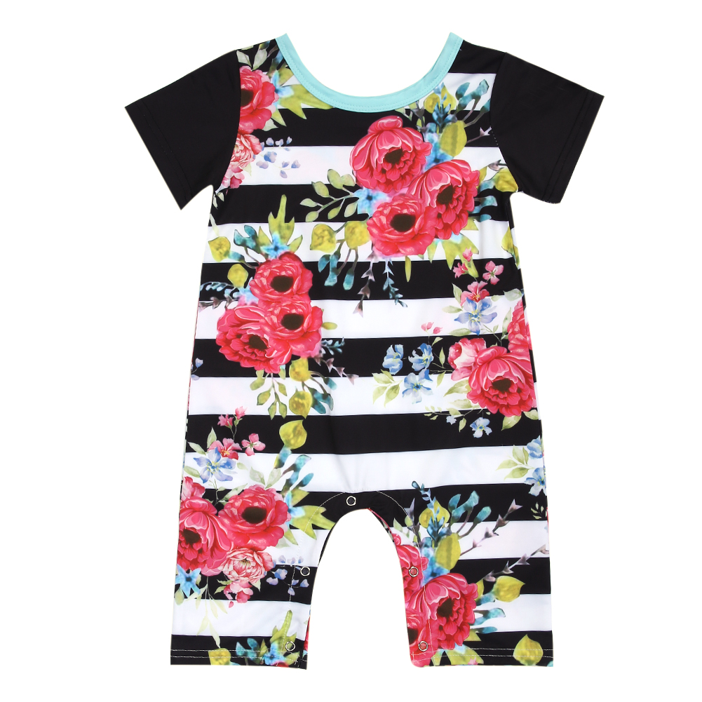 Floral Striped Baby Rompers Fashion Infant Girls Short Sleeve Rompers Jumpsuit Outfit Sunsuit Newborn Playsuit Clothes for 0-24M 2017 lovely newborn baby rompers infant bebes boys girls short sleeve printed baby clothes hooded jumpsuit costume outfit 0 18m