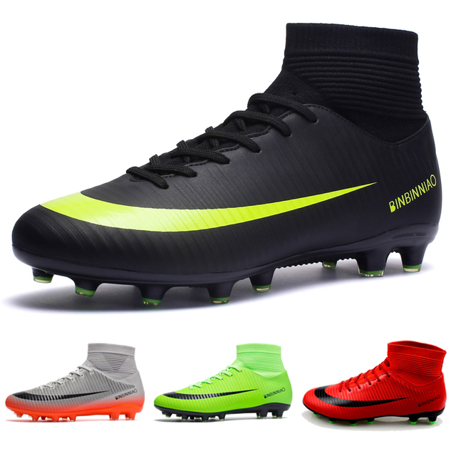 Soccer Shoes Men Football Cleats Futsal Soccer Boots Teenager Ankle High Tops Football Shoes Kids Indoor Soccer Training Sneaker