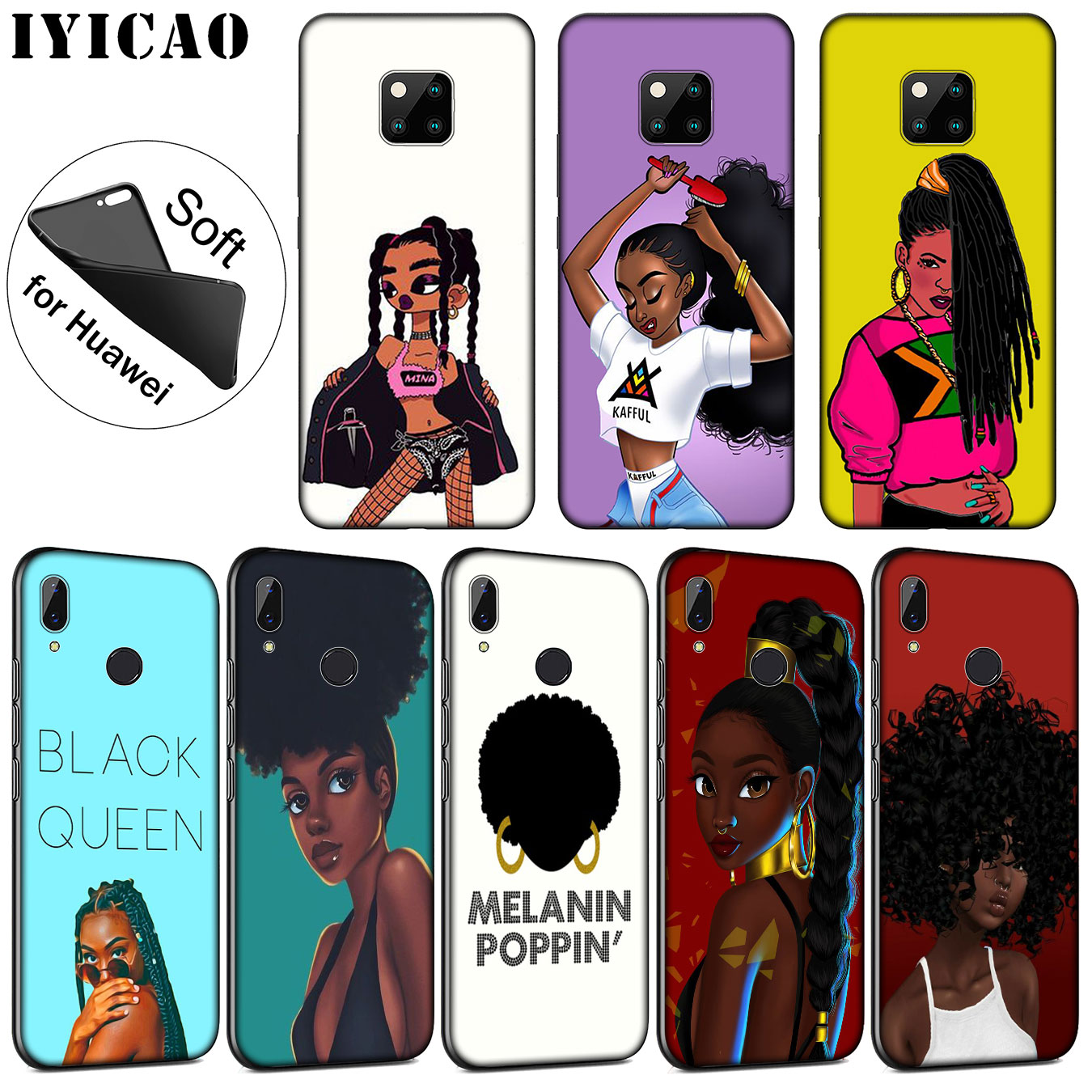 Methodical Iyicao New Personalized Melanin Poppin Black Girl Soft Silicone Case For Huawei Nova 3i 3 2i For Huawei Mate 20 10 Pro Lite Cellphones & Telecommunications Phone Bags & Cases