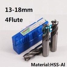 Концевая фреза из быстрорежущей стали с 4 канавками, 2 шт., 13 мм, 14 мм, 15 мм, 16 мм, 17 мм, 18 мм, для ЧПУ