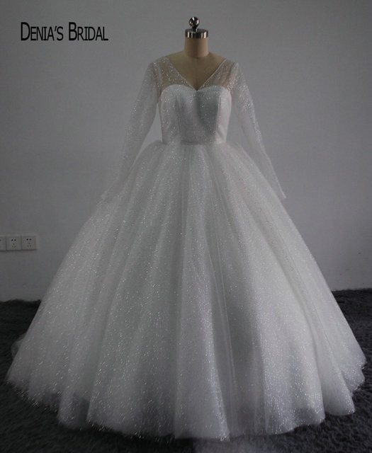Shiny Bling New Ball Gown Princess Wedding Dress Y V Back