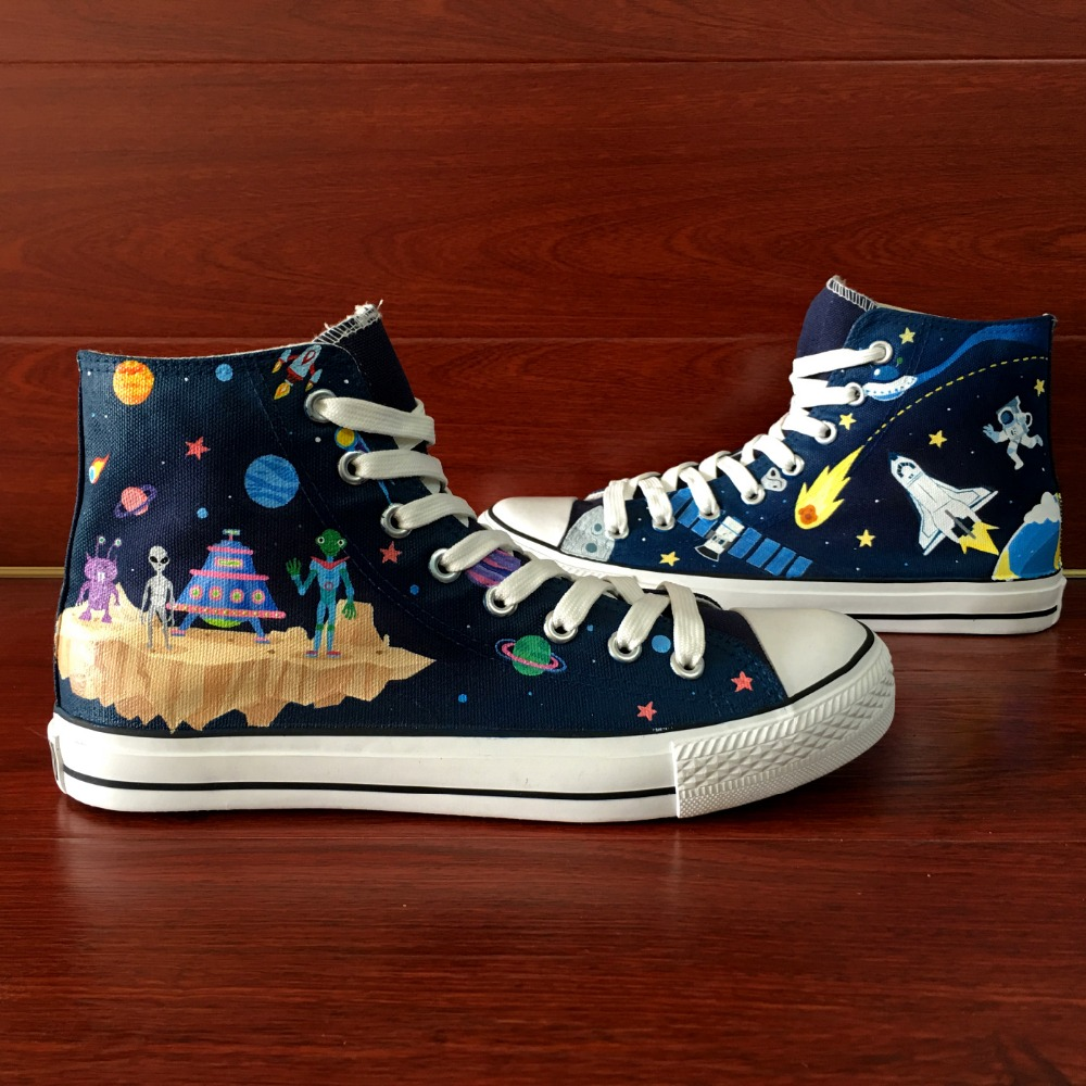 14aa25b25ebc1 US $69.0 |Wen Hand Painted Shoes Design Custom Cartoon Outer Space  Spaceship Alien High Top Canvas Sneakers for Christmas Gifts-in  Skateboarding from ...