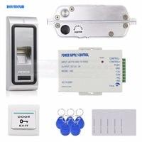 DIYSECUR врезной электрозамок отпечатков пальцев 125 кГц RFID считыватель ID карт двери Система контроля доступа Комплект Металл