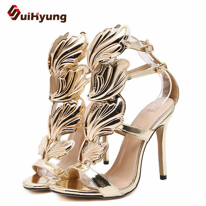 Suihyung Female Summer Sandals Gladiator High Heels Gold Wings Women Party Wedding Shoes Woman Patent Leather Thin Heels Sandals phyanic 2017 gladiator sandals gold silver shoes woman summer platform wedges glitters creepers casual women shoes phy3323