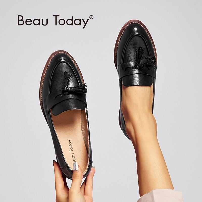 Beautoday 여성 tassels 페니로 퍼스 블랙 왁싱 양모 정품 가죽 지적 발가락 레이디 슬립 아파트 수제 2707510-에서여성용 플랫부터 신발 의  그룹 1