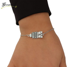 1Pcs Vintage Silver Plated Owl Shape Bracelet Bangle Decorative Wrist Fashion Jewelry For Women Men Gift Bijoux