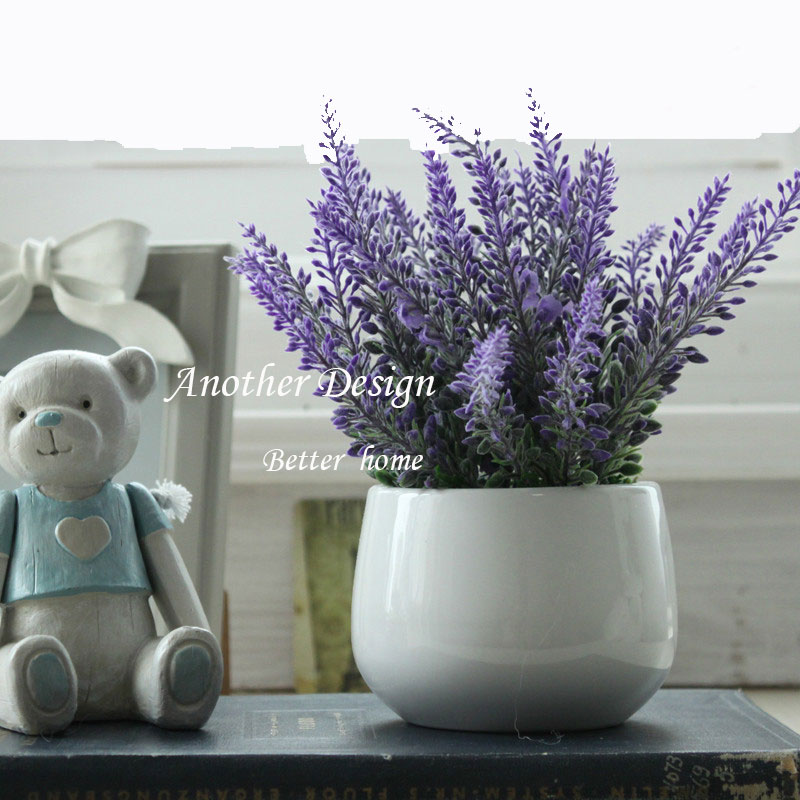 Artificial Flower Pot Home Decoration Desktop Fake Lavender Flowers Wedding Decor Gifts Potted Tabletop Touching