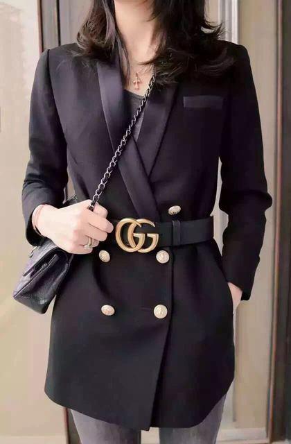 Yidora 2016 mulheres marca de moda Designer de edição limitada Long black Blazer com bolsos Collar entalhado botão de ouro mulheres blazers