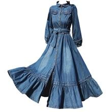 plus size 2XL spring new vintage lantern sleeve denim dress women