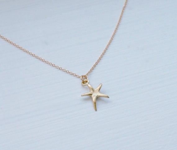 DAGNGAO Newest Listing Jewelry Necklace Gold Starfish Necklace Pentagram Pendant Necklace women Marine Organisms Jewelry