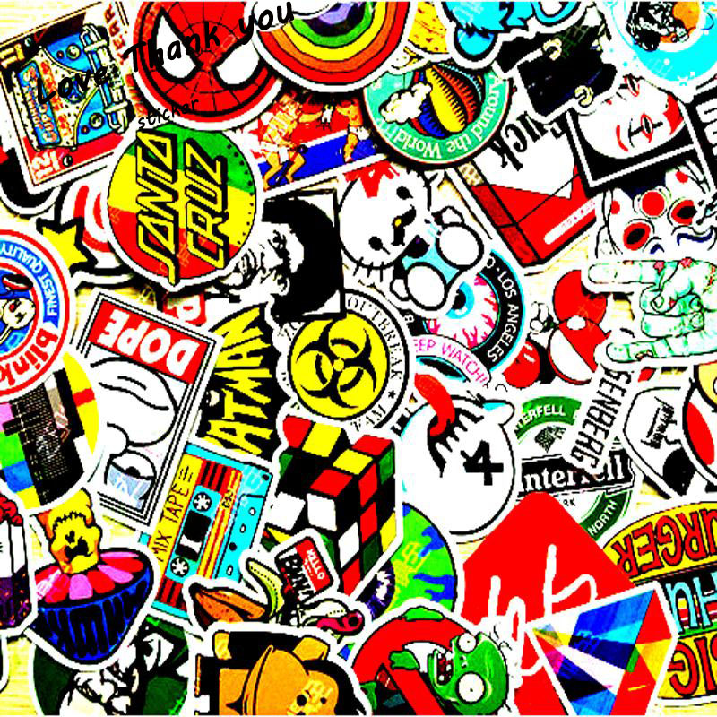 100 mixed Sticker font b toy b font Styling Skateboard Laptop Luggage Snowboard Car Fridge Phone