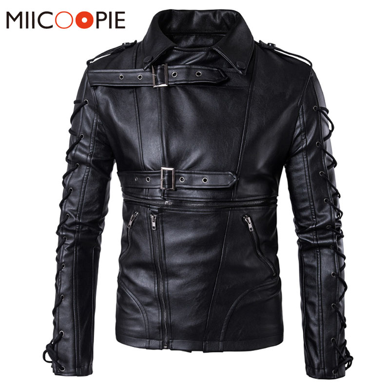 Leather Jacket Men 5XL Brand PU Motorcycle Leather Jackets Sleeve Straps Design Outerwear Men Winter Business Jacket Streetwear
