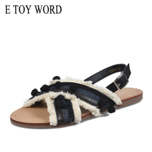 E TOY WORD 2019 New Women sandals Bohemia Style Summer flat Shoes Cross Sandals Thick Bottom Tassels Pom-pom Balls Beach Sandals rome style pom poms and geometric pattern design sandals for women