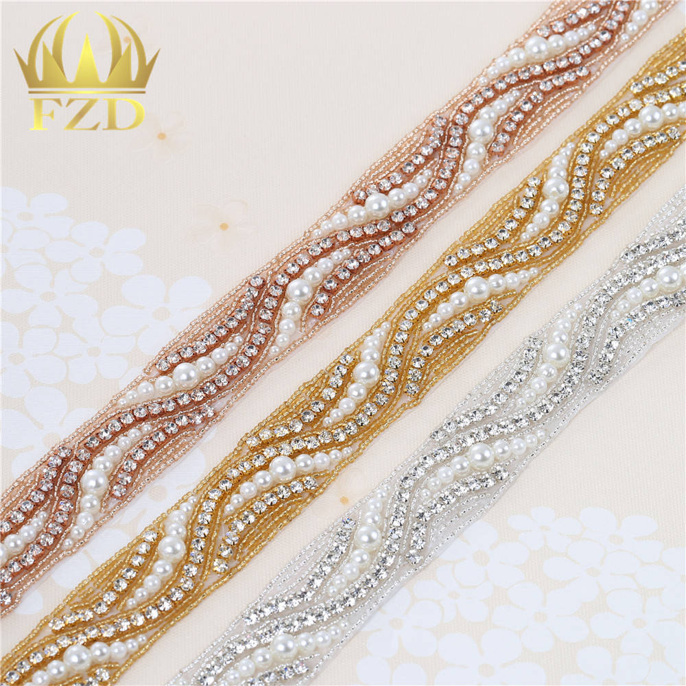 (1 Yard )Iron On Sewing hot fix Pearl Beaded Handmade clear Rhinestone  Appliques for Trimming Sash Bridal Wedding Dresses c55a8518eeee