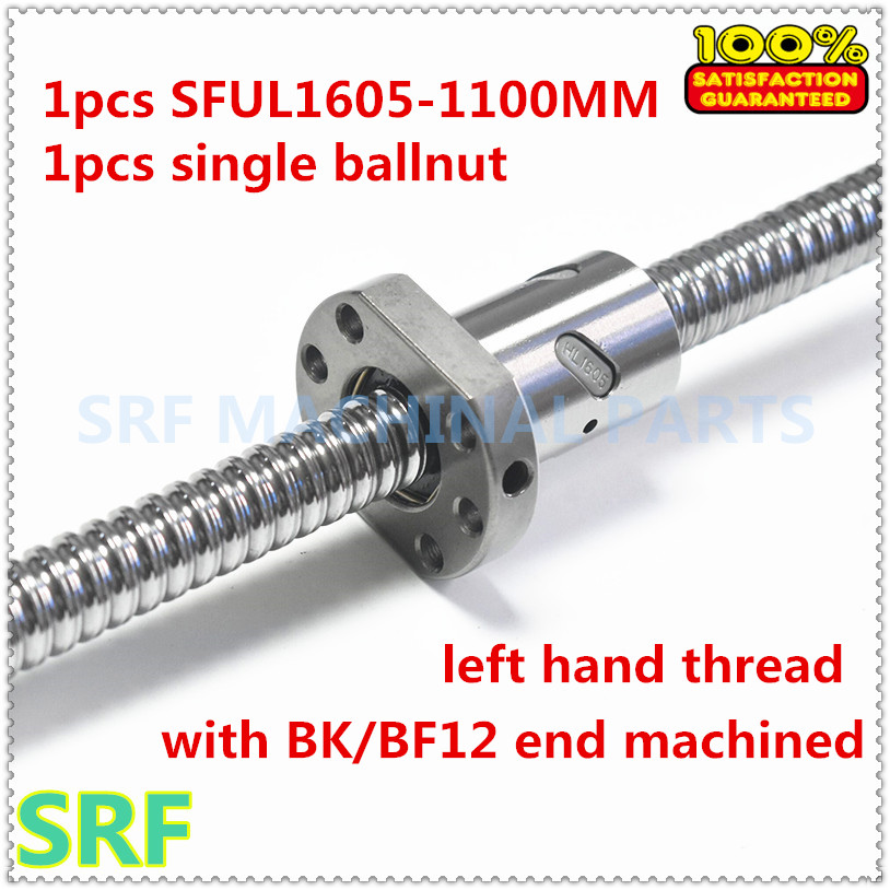 1 pcs Laminé vis à billes SFU1605 virage à gauche Rotation vis à Billes L = 1100mm C7 avec écrou À Billes pour CNC pièces