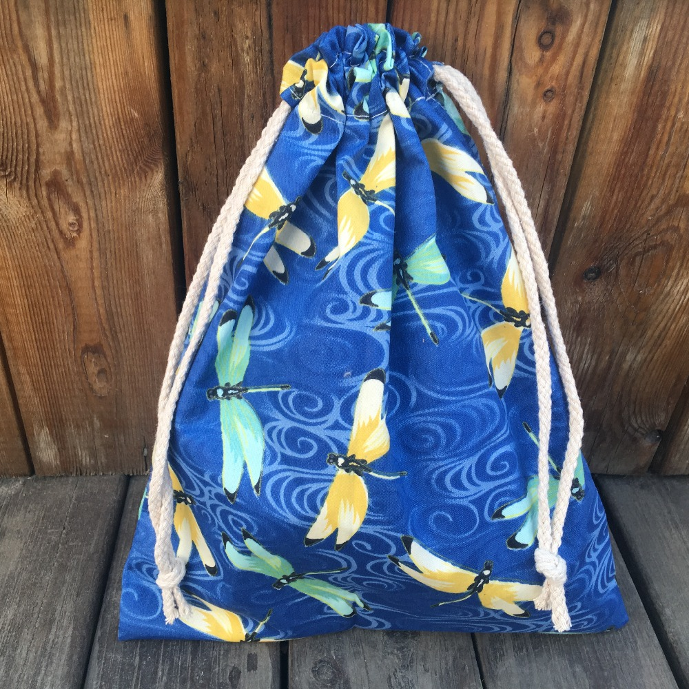 YILE 1pc Cotton Drawstring Pouch Party Gift Bag Multi-purpose Bag Print Dragonfly Blue YL9128a