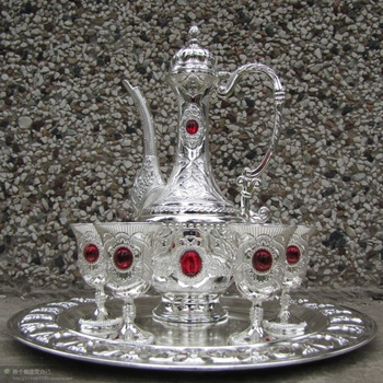 Sets Tibetan silver red jade Chinese white Silver Bronze a wine pot and 4 cups Cup Decoration real Tibetan Silver Brass