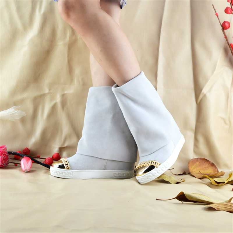 Offre Dames Piste mollet Bottes Talons Chaussons Caché Mi Mode Pic As Suede De Femmes Métal Or Spéciale En Pic as Rond Chaussures Wedge Chaîne Bout 4Ur4fwqn