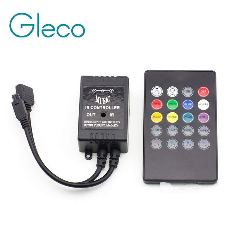 LED Music IR Controller 12V 6A 24 Keys IR Remote Controllers for 3528 5050 RGB LED Strip Lights Mini Controller laideyi rgb controllers light bar bluetooth led controller lights string music controller lighting controller 4 way 5 pin rgbw