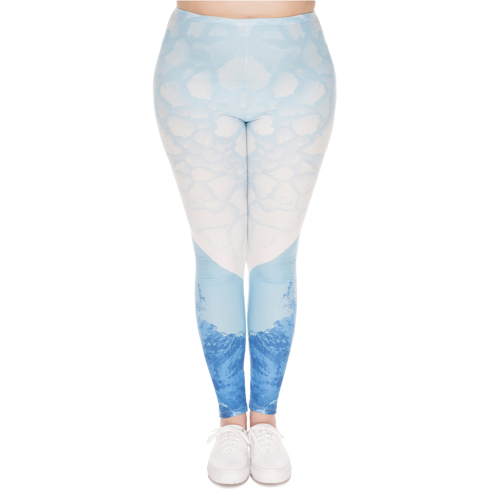 Fashion Large Size   Leggings   Iceberg Printed High Waist Leggins Plus Size Trousers Stretch Pants For Plump Women
