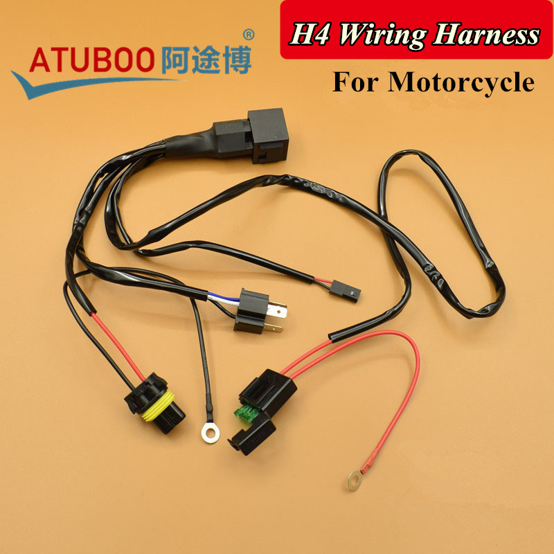 12v  35w  55w Motorcycle H4 Relay Wiring Harness For Bi