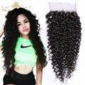 Grau 7a não transformados brasileiro kinky curly encerramento 100% virgin cabelo humano afro kinky curly lace closure brasileira fechamento encaracolado