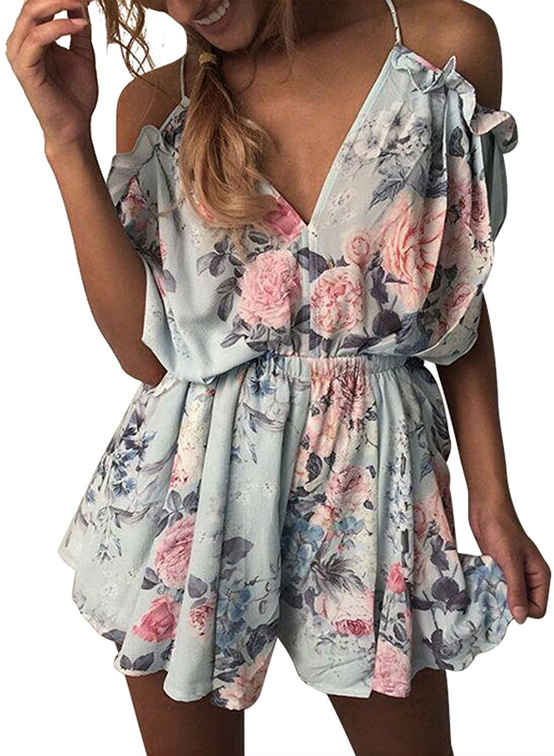 Women's V-neck Floral Halter Frill Backless Beach Short Overall Jumpsuit Sexy Jumpsuit Female Casual Summer Clothing