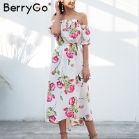 BerryGo Off Shoulder Puff Sleeve Summer Dress Women Lace Up Elegant Boho Dress 2018 Spring Sweet