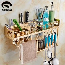 Golden Kitchen Storage Aluminium Spice Rack Cabinet and Pantry Organizers Wall Mounted(China)