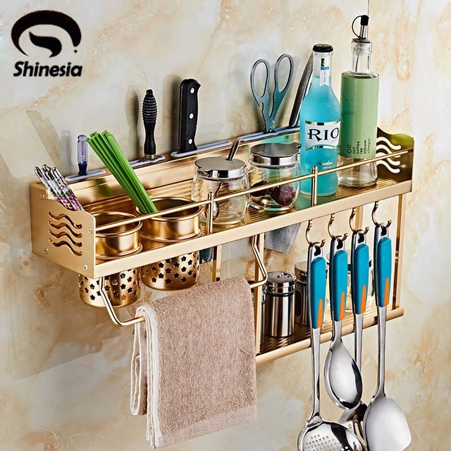 golden kitchen storage aluminium spice rack cabinet and pantry organizers wall mounted - Kitchen Pantry Organizers