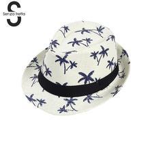 Sombreros de paja de verano para adultos niño sombrero Panamá árbol de coco  Jazz sombrero sombrilla playa moda sombrero Unisex C.. b7161e001ff