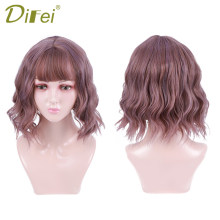 DIFEI Purple hair Wigs with Bangs Short Wavy Wigs for Black Women African American Synthetic Heat Resistant Wig(China)