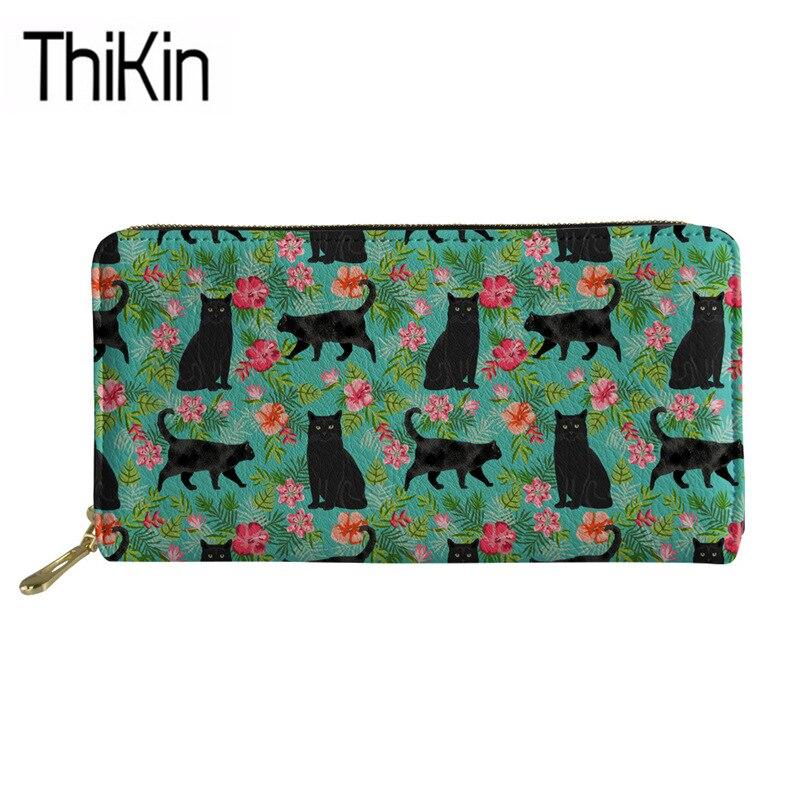 Thikin Brand Luxury Wallets Women Black Cat Floral Printing Long PU Leather Purse Ladies Fashion Phone Cash Holder Money Bag