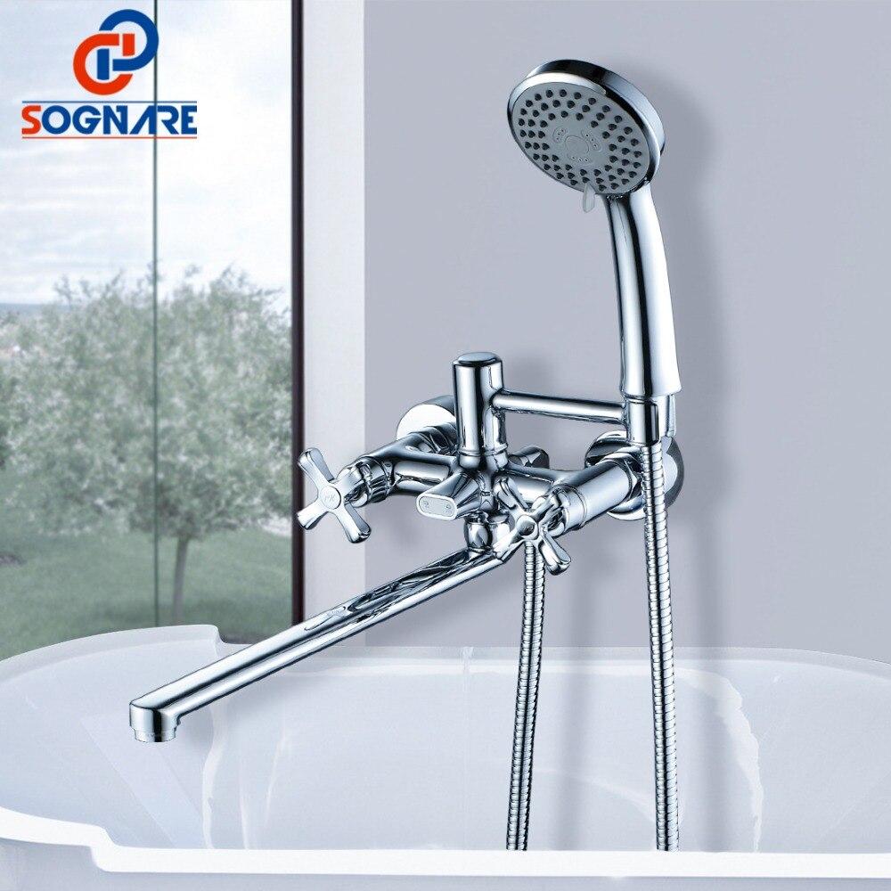Sognare Ванная комната Смесители для душа комплект 35 см длинный нос латунь настенные Ванная комната Для ванной душ смеситель с ручной набор для...