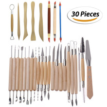 30 Teile/satz Ton Sculpting Werkzeuge Keramik Holzschnitzerei-werkzeug-set-Enthält Ton Farbe Shapers, modellierung Werkzeuge & Holz Skulptur Messer