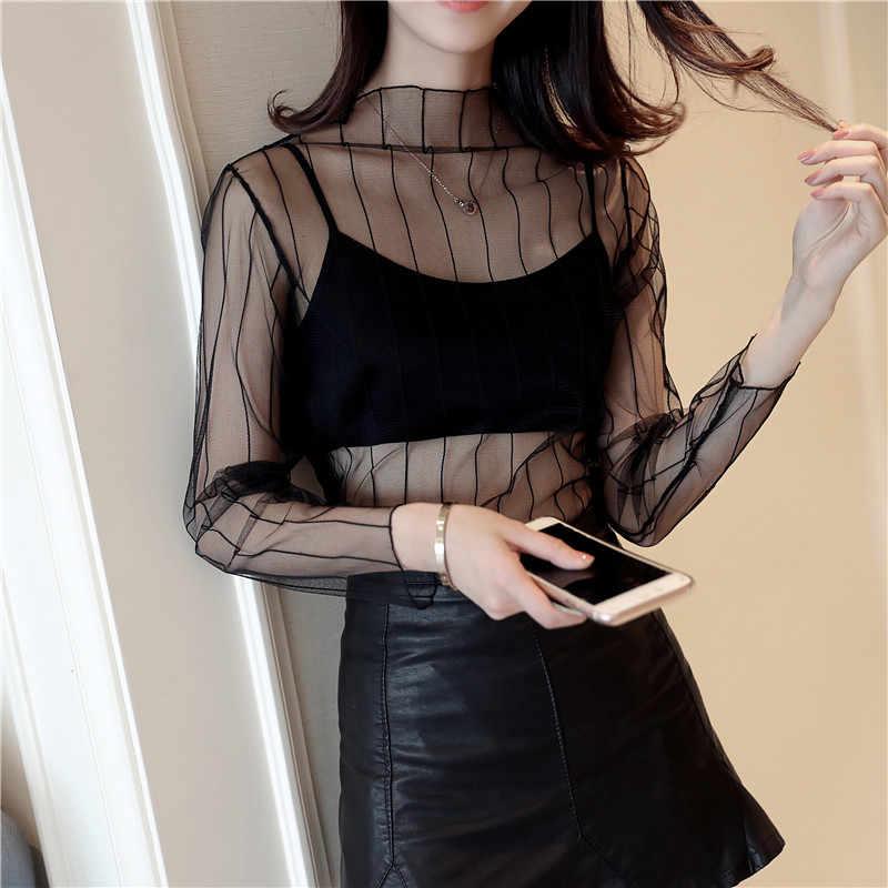 ตาข่ายเซ็กซี่หญิงดูผ่านเสื้อ T 2018 แฟชั่น Hollow Transparent Undershirt Star Dot ฐาน TOP Camisas Femininas Clubwear N26