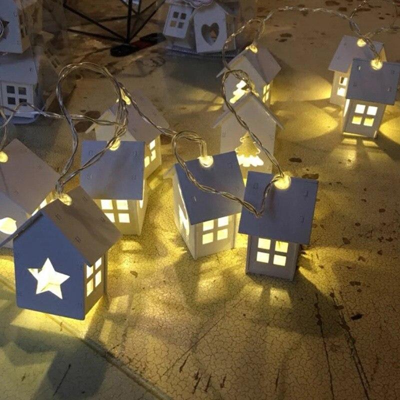 1,2 Mt String Lingts Mit Batterie Box Holz Haus Form Hohl herz 10 Led-lampen Licht Für Hochzeit Weihnachtsdekoration-